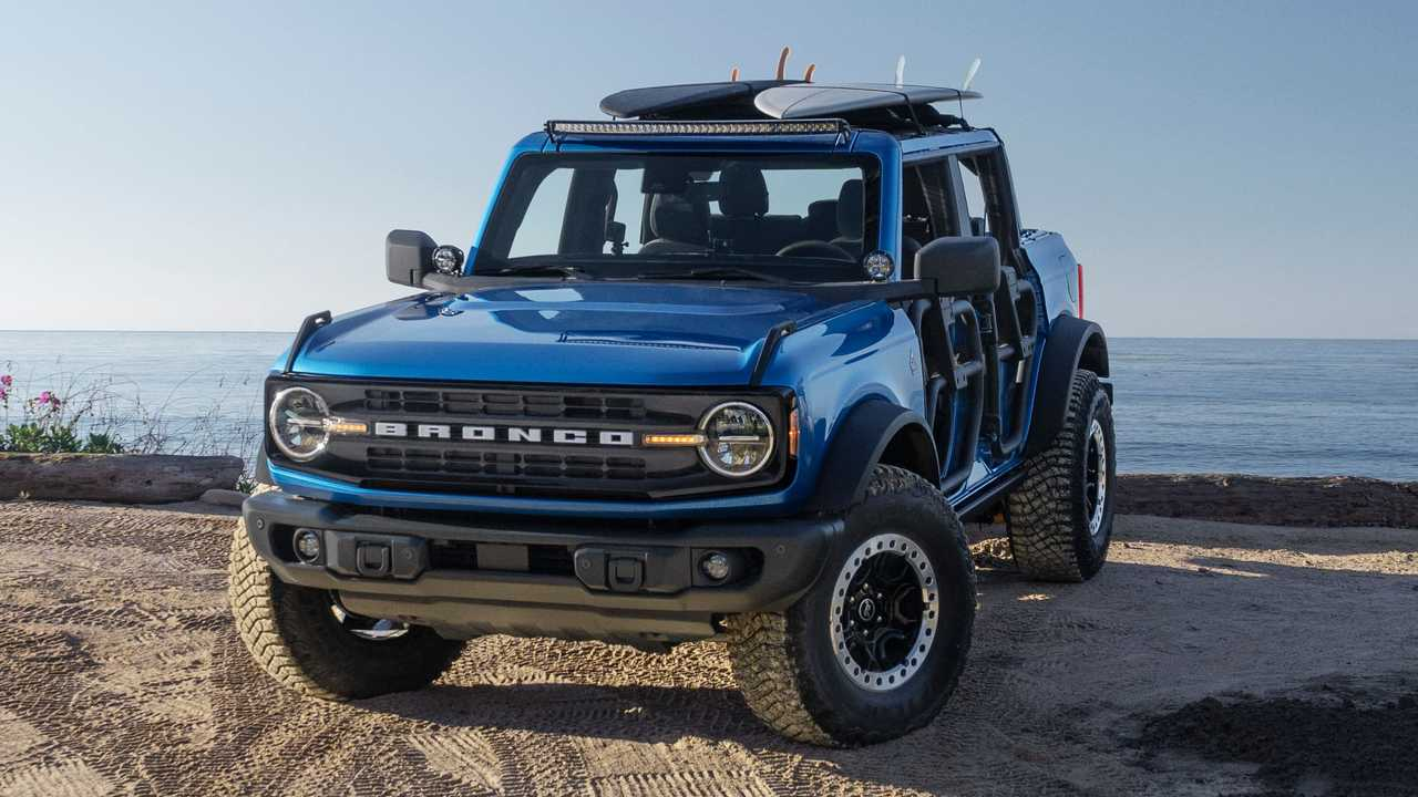 An aerial side view of a custom project called the Ford Bronco Riptide.