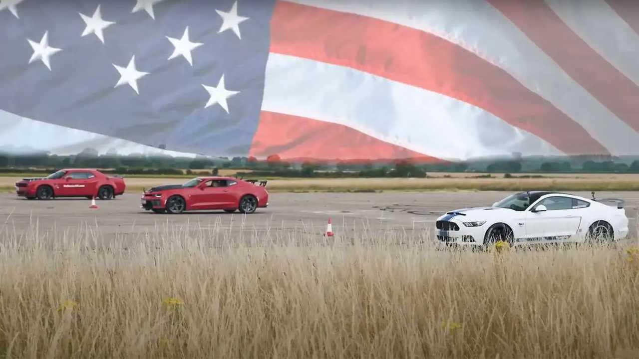 Mustang, Camaro ve Challenger'ın Drag Yarışı.