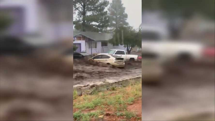 Flash Flooding Turns Roads Into Rivers, Washes Away Toyota Prius
