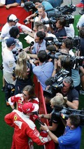 (Top to Bottom): Fernando Alonso, McLaren; Max Verstappen, Red Bull Racing; and Kimi Raikkonen, Ferrari, with the media