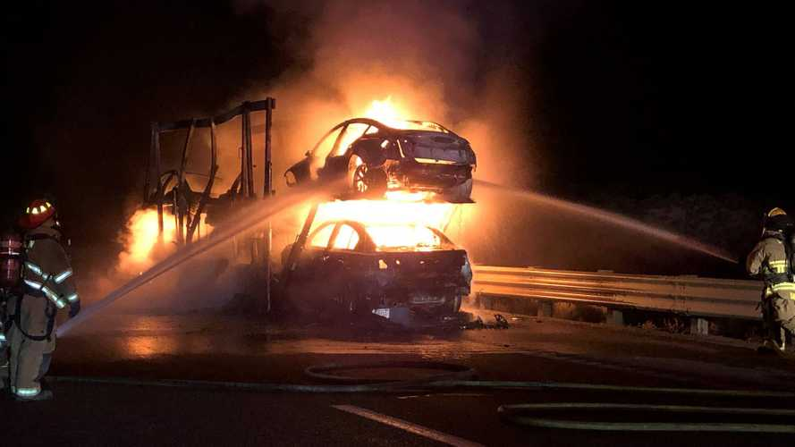 Truck Trailer Carrying Five Tesla Cars Burns In Nevada
