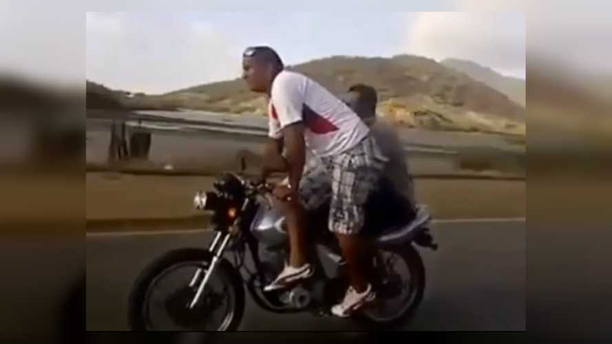Hooligans Attempt Stunt, Fail, Lose Motorcycle In Fiery Crash