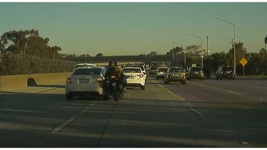 Watch TeslaCam Capture Motorcycle Versus Car Crash