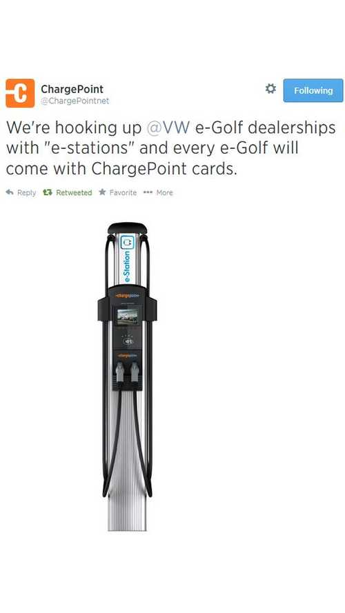 ChargePoint To Supply Volkswagen Dealerships With Charging Stations - VW e-Golf Buyers Get ChargePoint Card