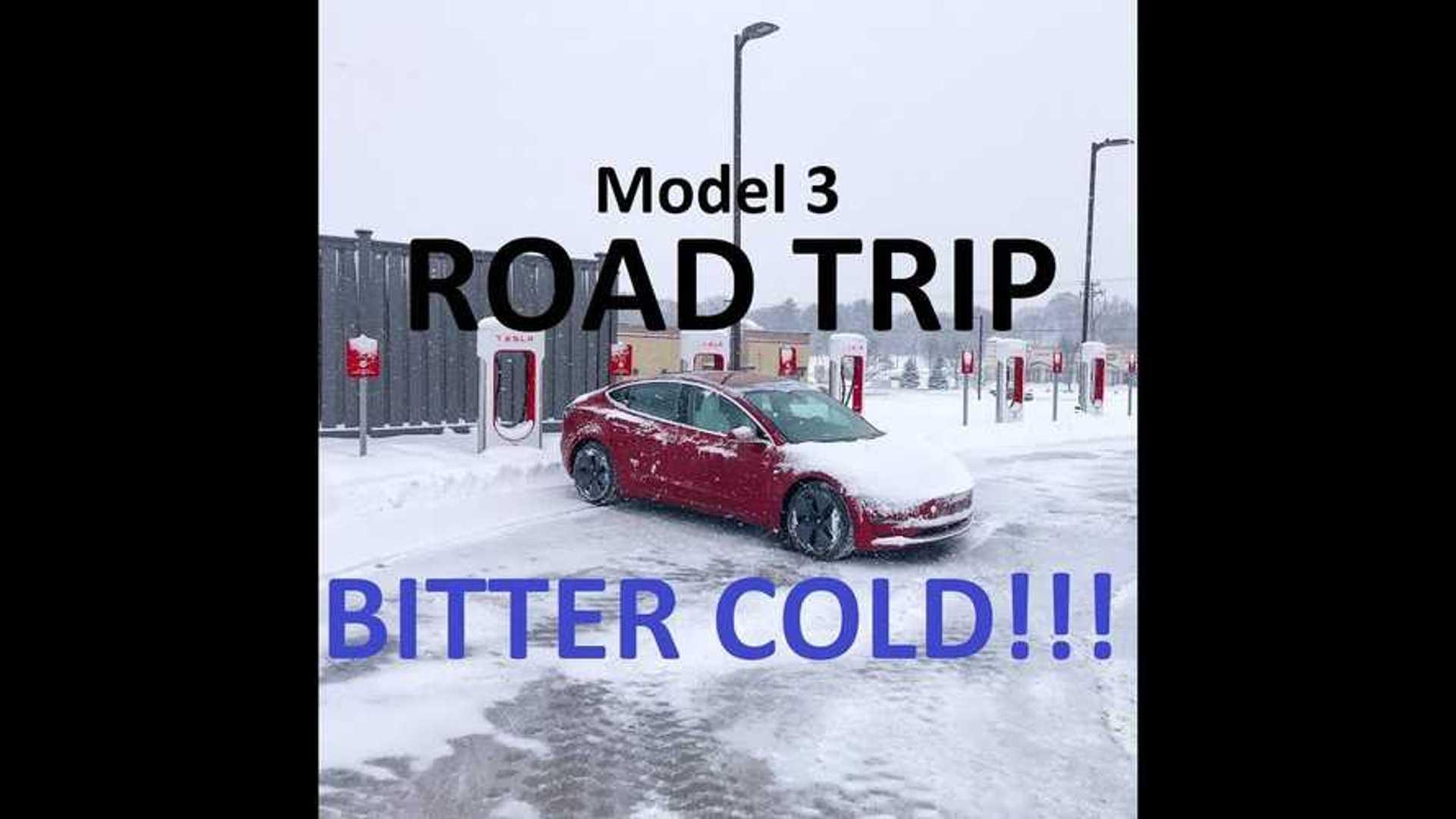 Tesla Model 3 Road Trip In Bitter Cold & 2 Feet Of Snow: Video