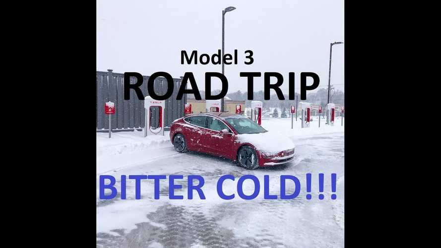 Tesla Model 3 Road Trip In Bitter Cold & 2 Feet Of Snow: Video