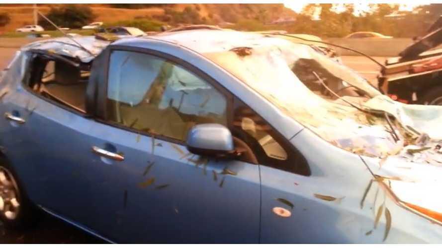 Tree Crushes Nissan LEAF - Video