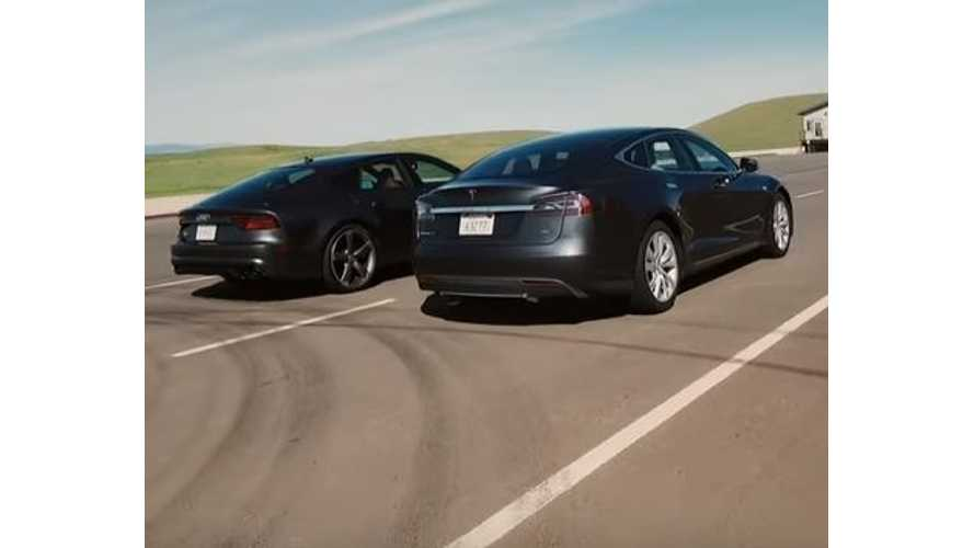 Tesla Model S Versus Audi S7 4.0T Quattro - Video