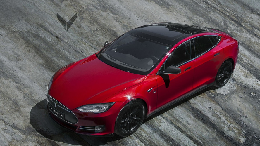 2013 Tesla Model S P85+ gets a red and black theme from Vilner
