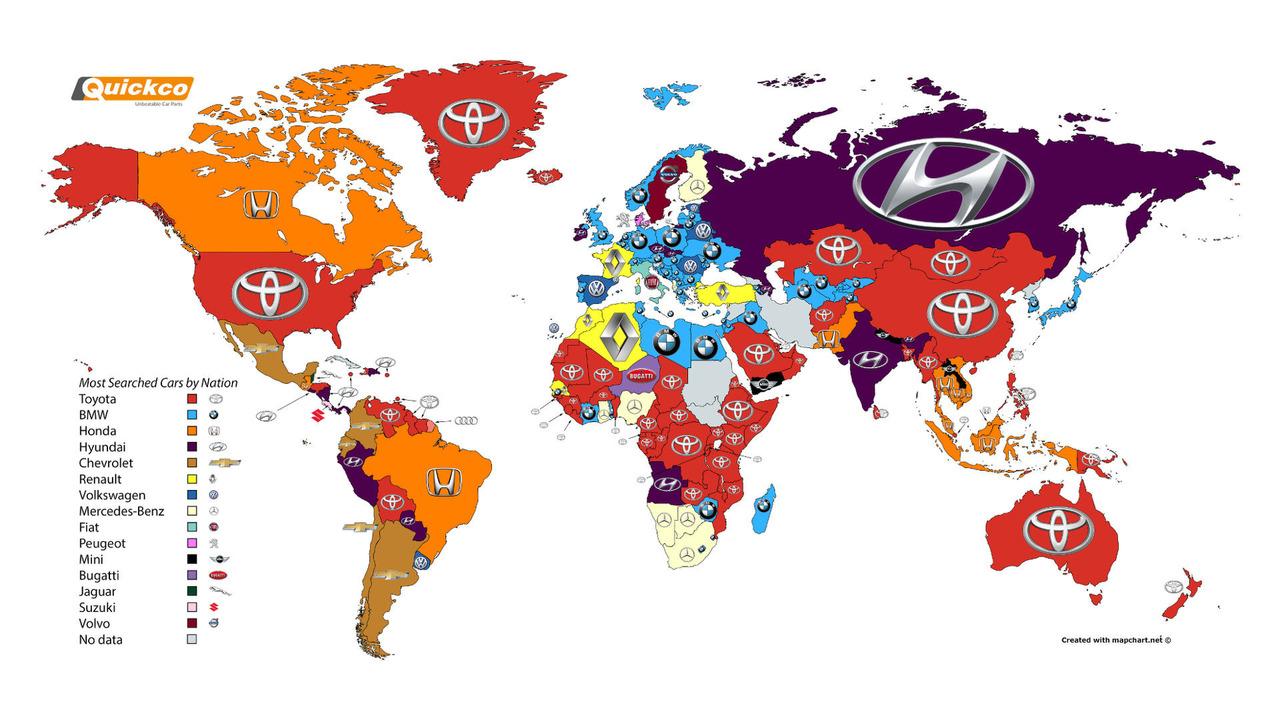 En çok aranan otomobil markaları haritası