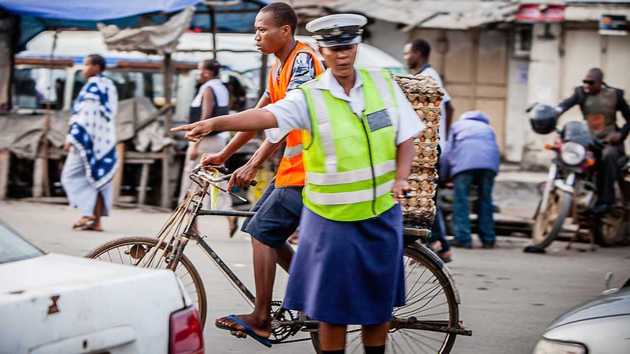 Police traffic officer in Dar es Salaam Tanzania Africa