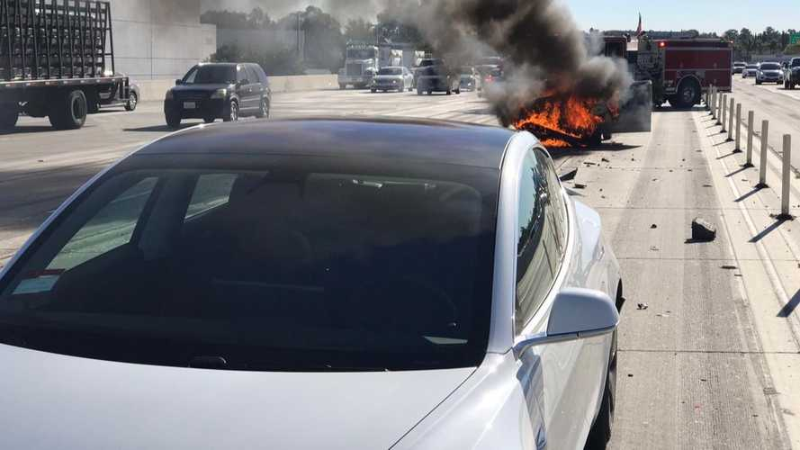 Tesla Model 3 gets hit by Nissan Sentra that bursts into flames