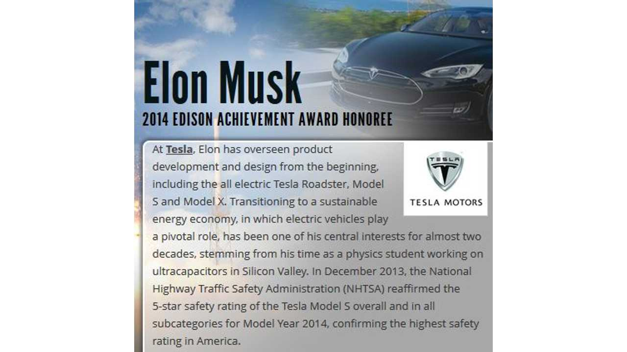 Tesla Motors CEO Elon Musk to Receive 2014 Edison Achievement Award