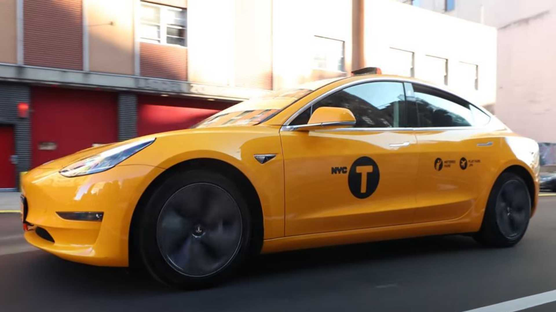 New York City's Tesla Model 3 Taxi Cab Out Of Service Following Crash