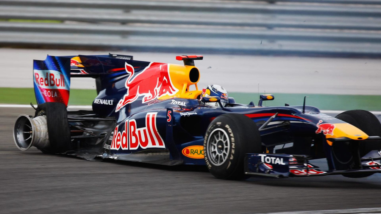 Sebastian Vettel of Germany and Red Bull Racing crashes out after colliding with his team mate Mark Webber of Australia and Red Bull Racing during the Turkish Formula One Grand Prix at Istanbul Park on May 30, 2010