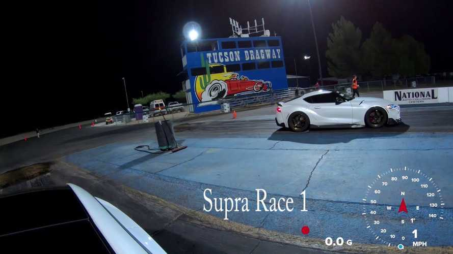 Watch Tesla Model 3 Performance vs modified Toyota Supra at the strip