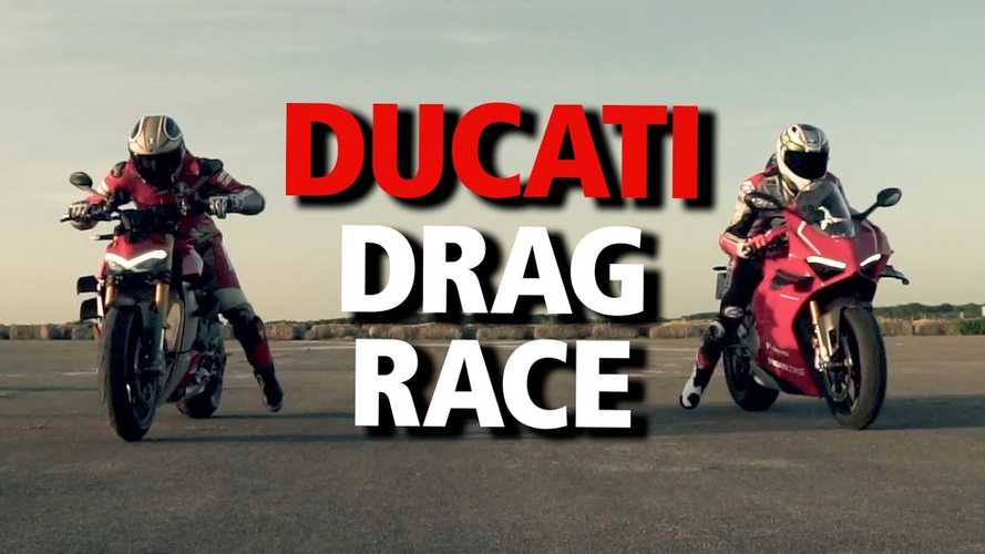 Ducati Drag Race: Panigale V4 R Takes On A Streetfighter V4 S At The Strip