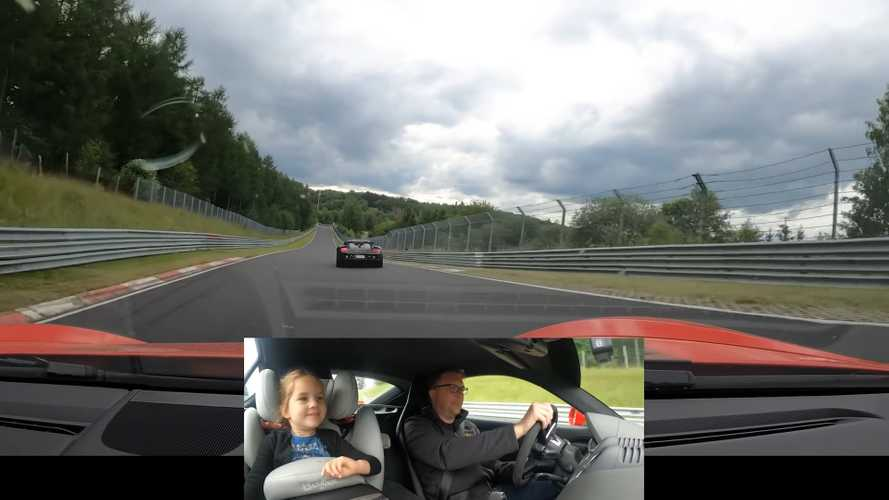 Porsche Cayman Chases Carrera GT At The 'Ring, Daughter Loves It