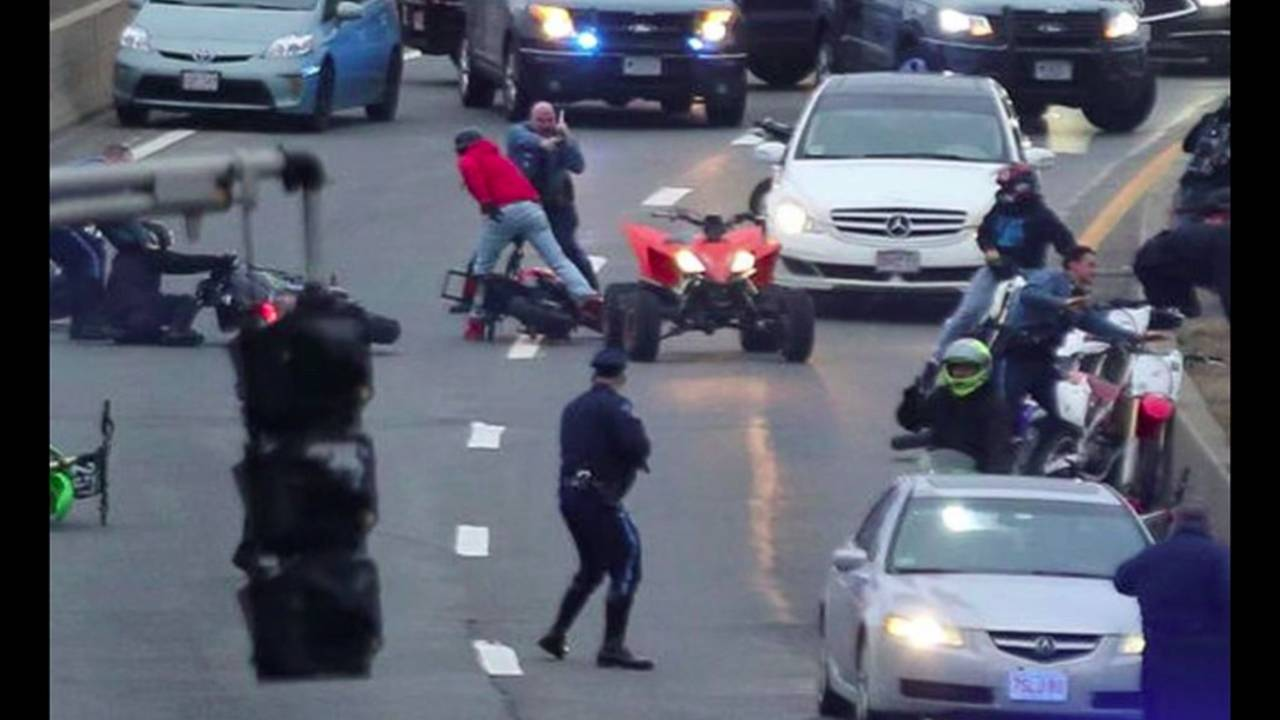Cops and Dirt Bikers Tussle on Boston Area Freeway