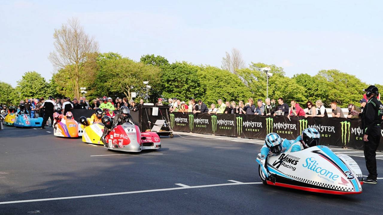 Rookie sidecar racers take the track at the Isle of Man TT