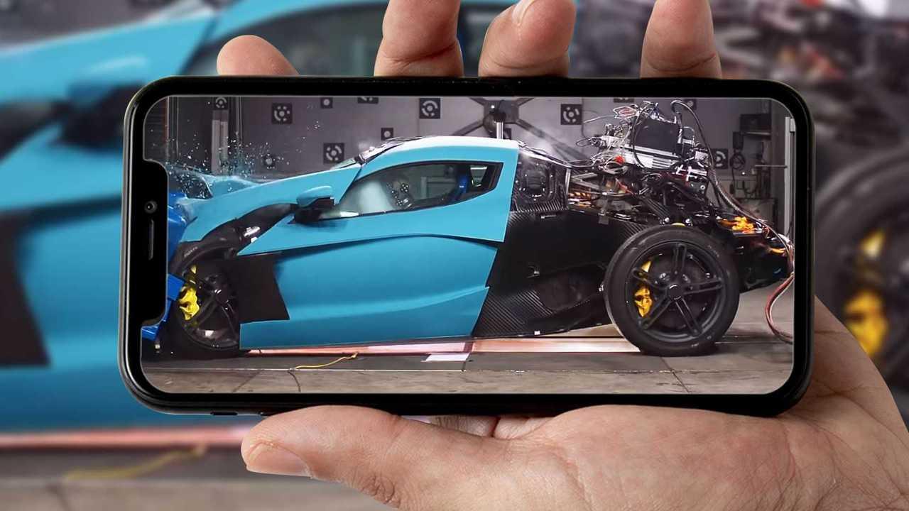 Rimac C_Two im Crashtest (Bildquelle: Motor1.com Italien)