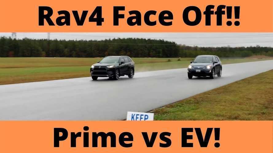 2013 Toyota RAV4 Electric Drag Races Current RAV4 Prime In EV Mode
