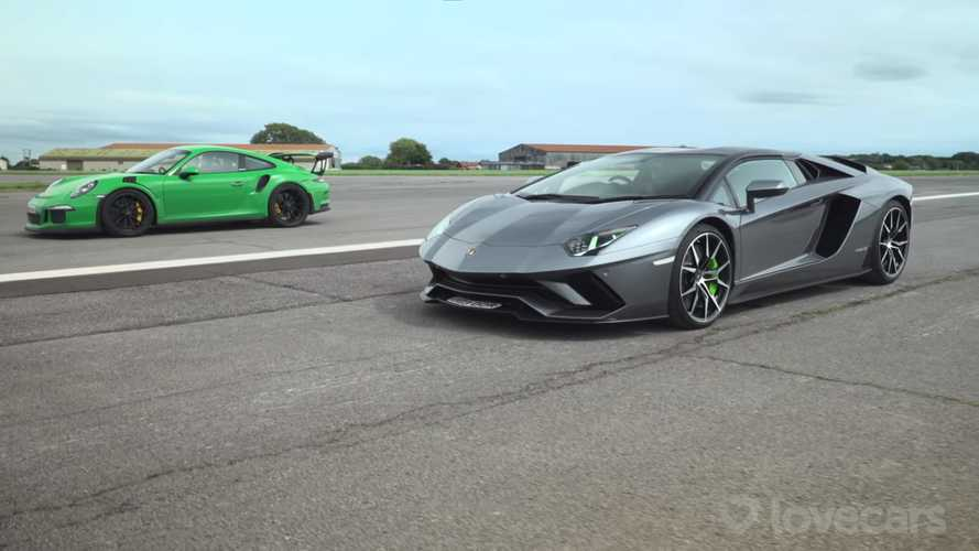Aventador S Roadster and 911 GT3 RS Compete For Drag Race Supremacy