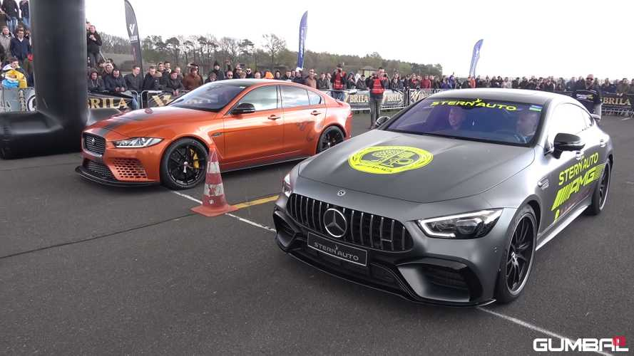 Watch Mercedes-AMG GT 63 S drag race Jaguar XE SV Project 8