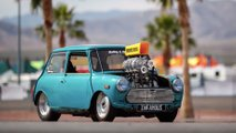 Corvette-powered Mini Cooper burnout machine