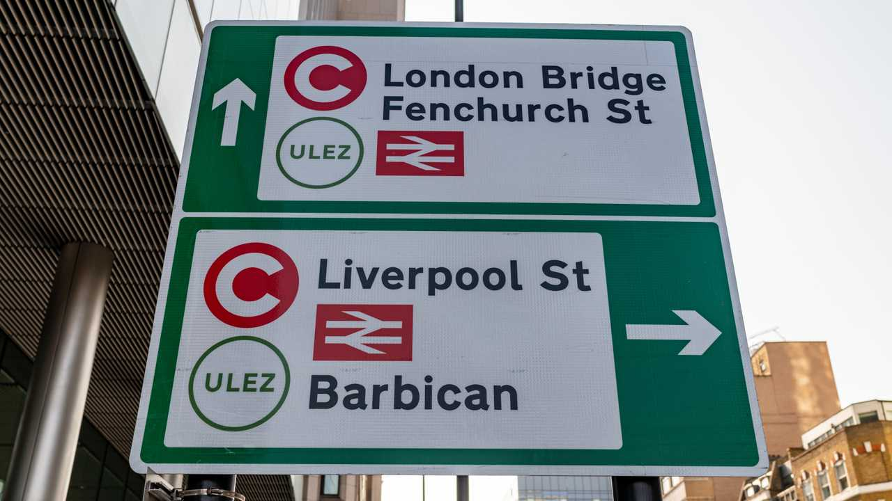Ultra Low Emission Zone ULEZ warning sign in London