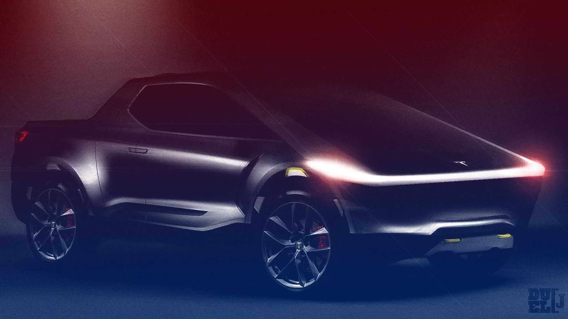 Tesla Pickup Truck Rendered To Life From Elon Musk Teaser