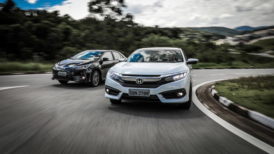 Sedãs médios mais vendidos: Civic cresce, mas Corolla ainda emplaca mais que o dobro em abril