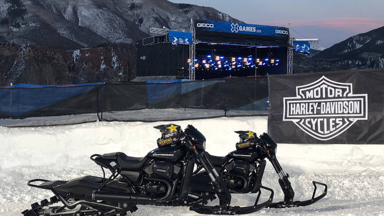 Image result for Harley-Davidson Hits the Slopes with Street Rod Snow Bikes