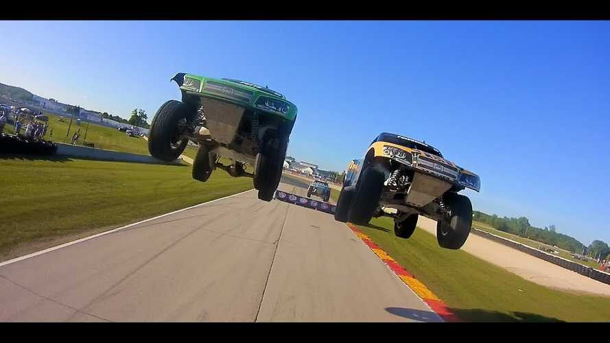 This In-Bed View Of A Stadium Super Truck Race Is Jump-Tastic