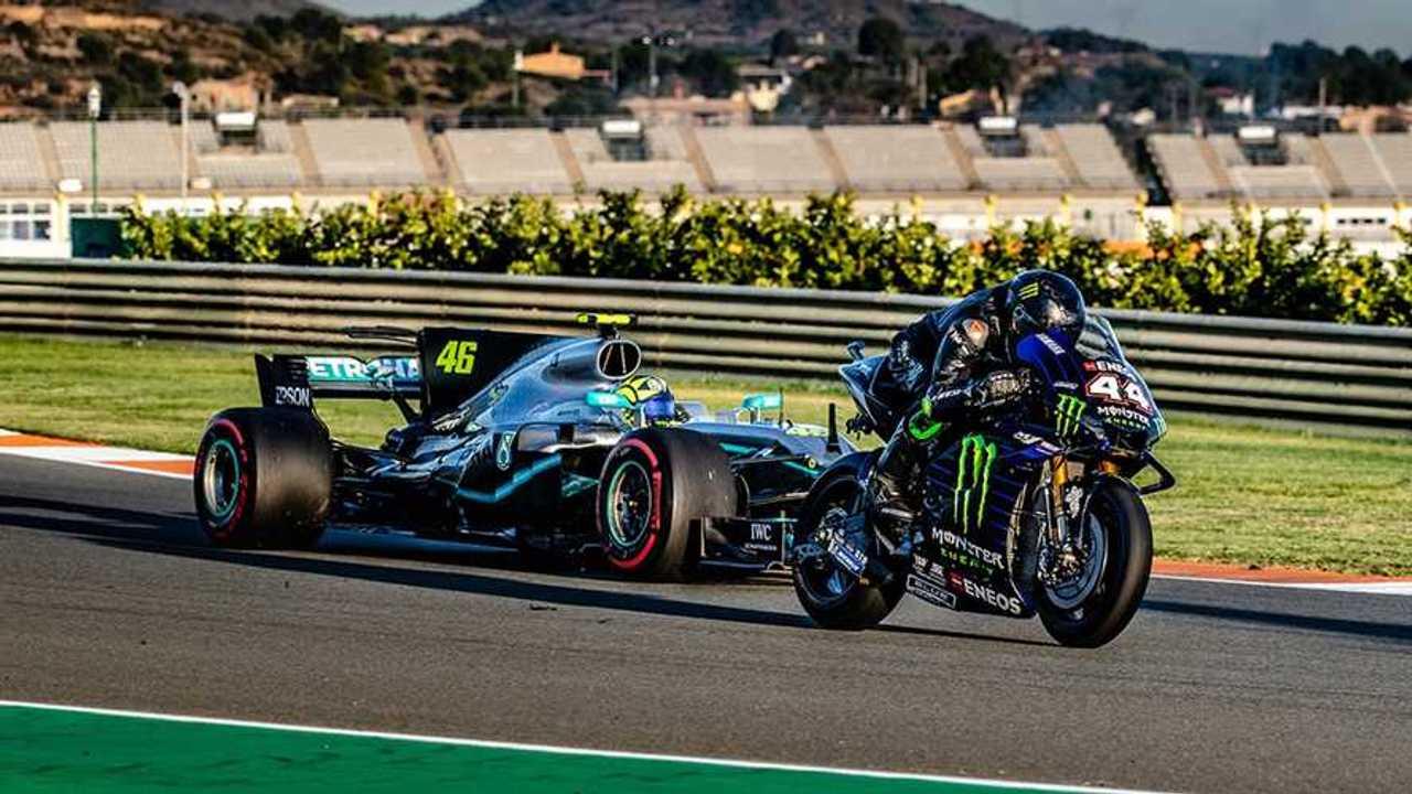 Lewis Hamilton and Valentino Rossi swap