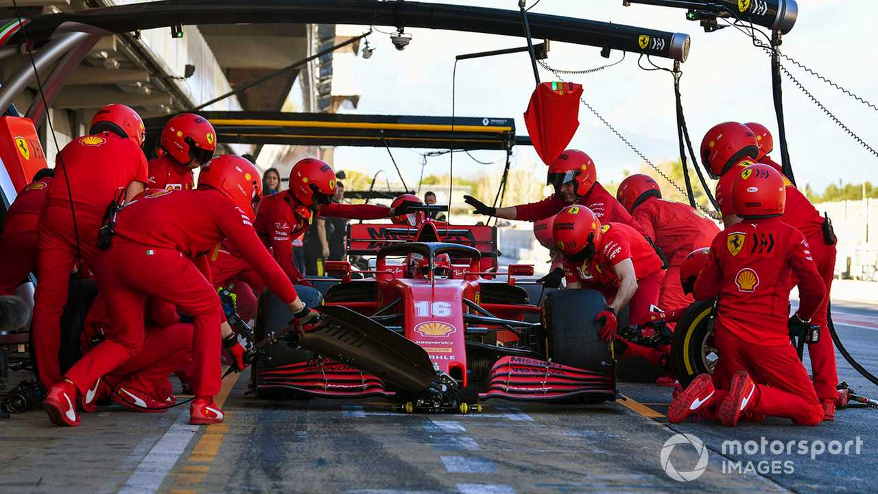 Charles Leclerc pit stop at Barcelona Feb 2020 testing