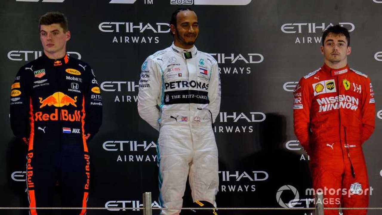 Max Verstappen, Lewis Hamilton and Charles Leclerc at Abu Dhabi GP 2019