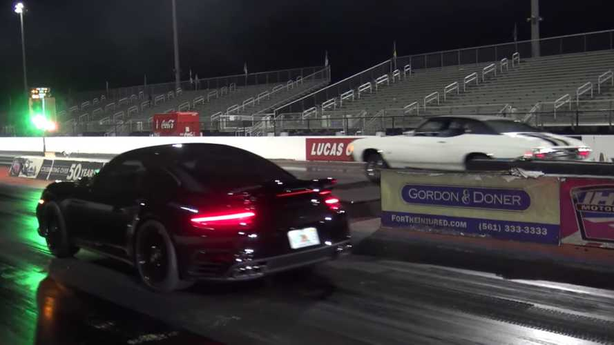 Watch A Classic Chevy Chevelle SS Drag Race A Modern Porsche 911 Turbo