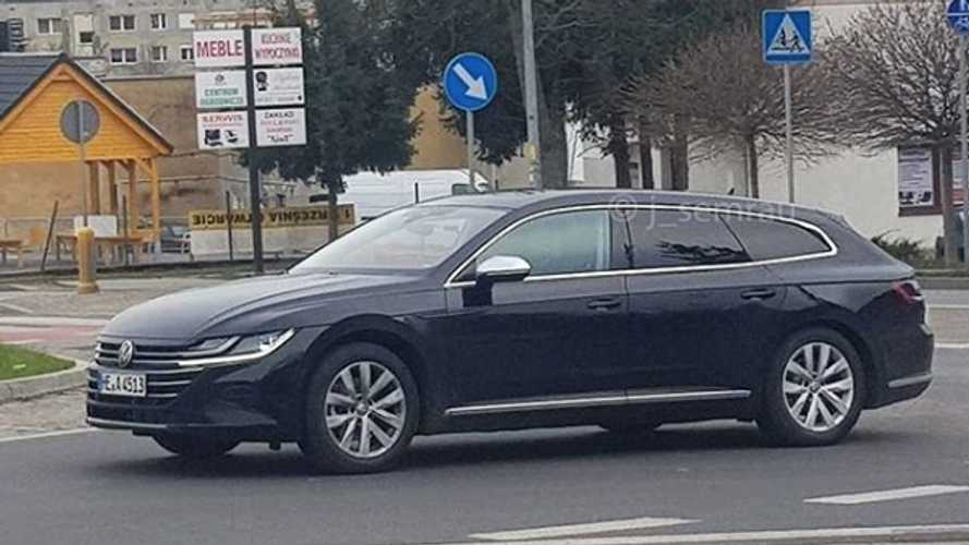 VW Arteon Wagon Spied In Traffic Flaunting Its Extra-Long Roof