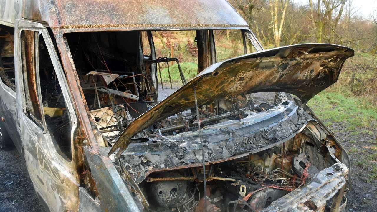 Fire damaged burnt abandoned van