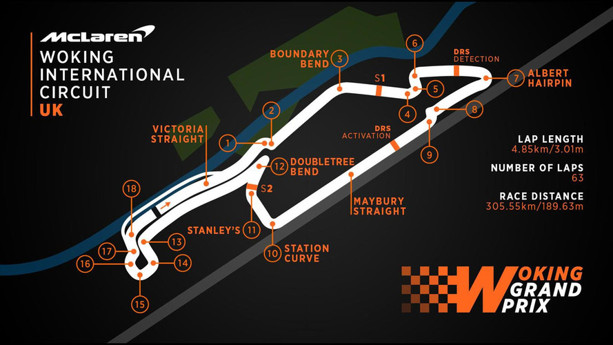 Woking International Circuit mapa de la pista
