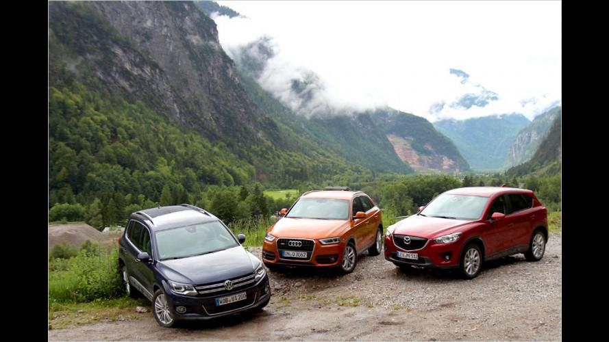 Audi Q3, Mazda CX-5 und VW Tiguan im Vergleichstest