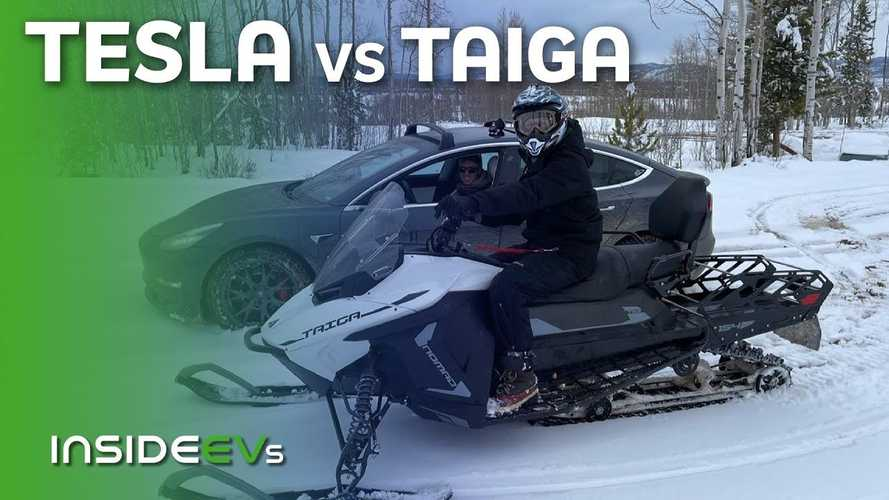 Tesla Model 3 Performance Races Taiga Snowmobile In A  Muddy Mess
