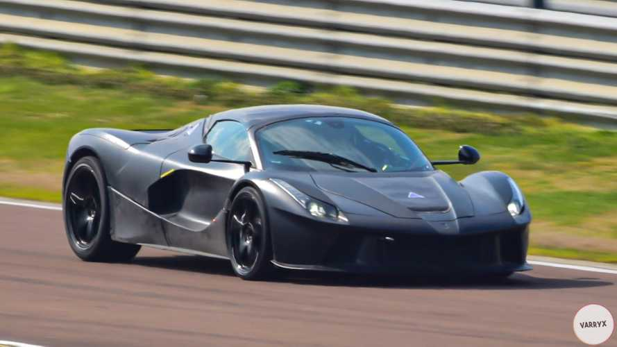 Ferrari next-gen hybrid hypercar test mule spied without any camo wrap