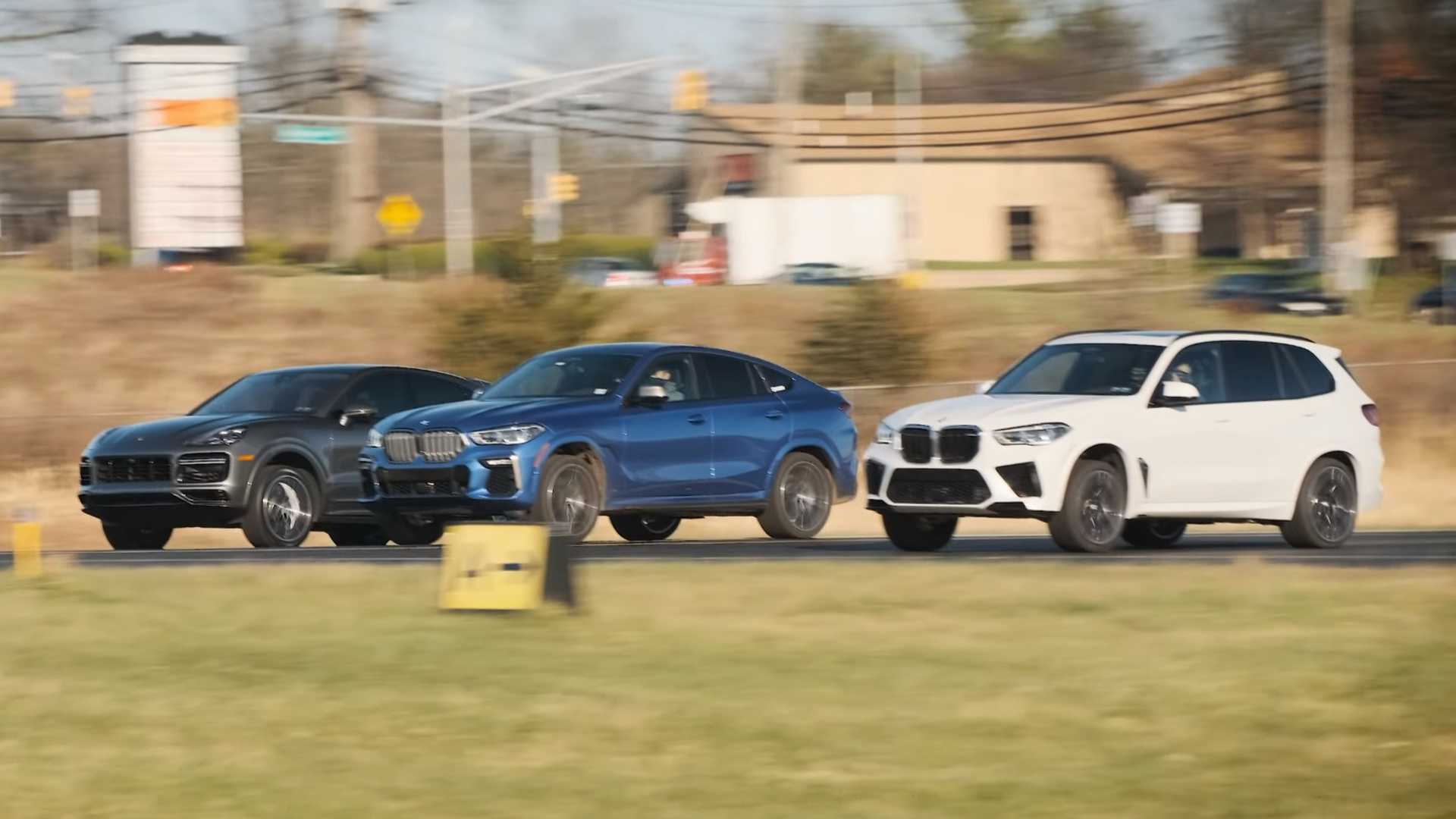 Watch BMW X5 M, X6 M50 Drag Race Cayenne Turbo Coupe