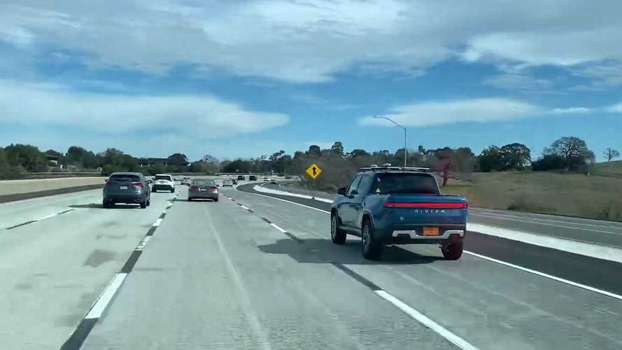 Check Out This Blue Rivian R1T Electric Truck Seen On The Highway