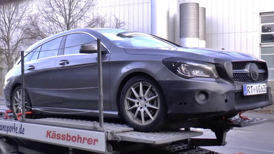 mercedes cla shooting brake facelift spied on a trailer. Black Bedroom Furniture Sets. Home Design Ideas