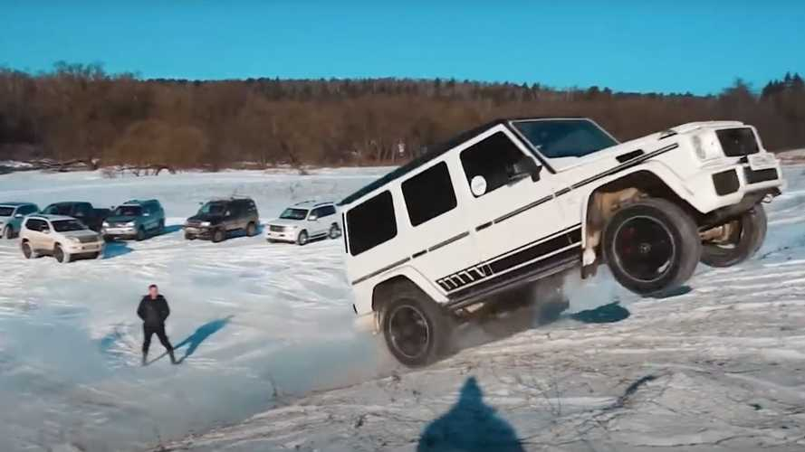 AMG G63 Races Up Hill, Tug Of War With Lexus LX, Touareg