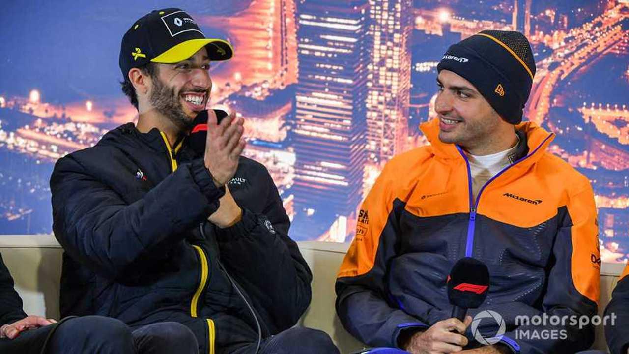 Daniel Ricciardo and Carlos Sainz Jr at Barcelona 2020