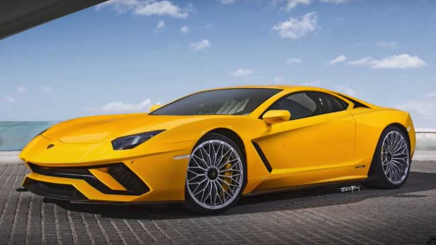 Front engine Lambo Aventador rendering imagines 812 Superfast rival